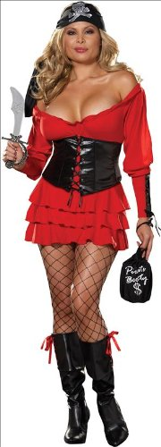 Wench Lady Costumes Pirate Dress (Pirate Wench Costume - Plus Size 1X/2X - Dress Size)