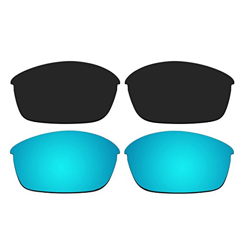 Replacement Polarized Black and Ice Blue Lenses for Oakley Flak Jacket - 881 03 Oakley