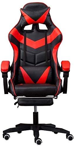 Fåtöljar GSN spelstol kontor, dator bordsstolar, ergonomisk design kraftig liggning hög rygg stol omstång stöd vadderad kontorsstol (storlek: Röd)