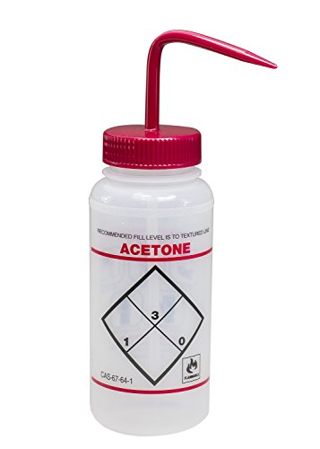Bel-Art Scienceware F11646-0622 Acetone 2-Color Wash Bottle, 500 mL, Safety Labeled, Wide Mouth, Red Cap (Pack of 6)