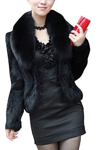 Women's Black Fashion Faux Fox Fur Long Sleeve Thick Overcoat Slim Short Coat (Fox Fur Coat)