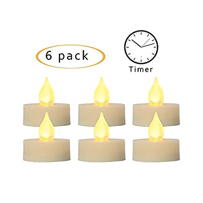 iZAN Flameless LED Battery Operated Votive/Tealight Candles with Built-in Timer Flickering Electric Votives/Tea Lights for Halloween Christmas Home Party Wedding Decorations Batteries Included