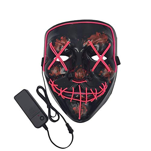 Himine Halloween Mask Cosplay LED Light up Purge Mask for Festival Party (Pink) -