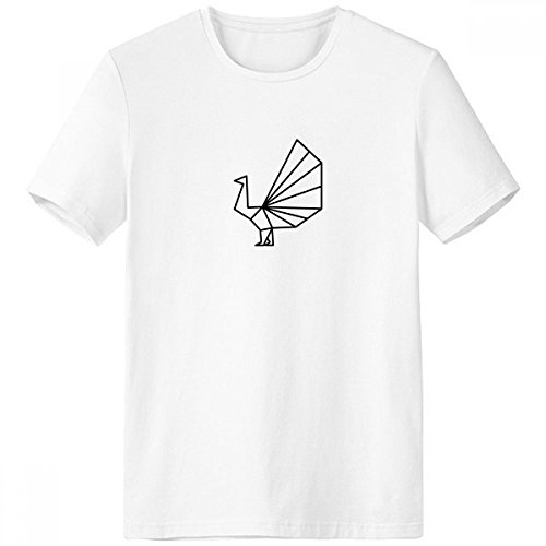Abstract Origami Peacock Geometric Shape Crew Neck White T-shirt Short Sleeve Comfort Sports T-shirts (Origami Peacock)