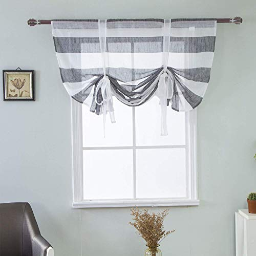 (WUBODTI Striped Tie Up Curtain Panel Grey and White Rugby Stripe Window Curtain Drapes Sheer Tie Up Shades Balloon Small Curtain for Kitchen Bedroom Living Room Nursery Room,46x63 Inch,Gray)