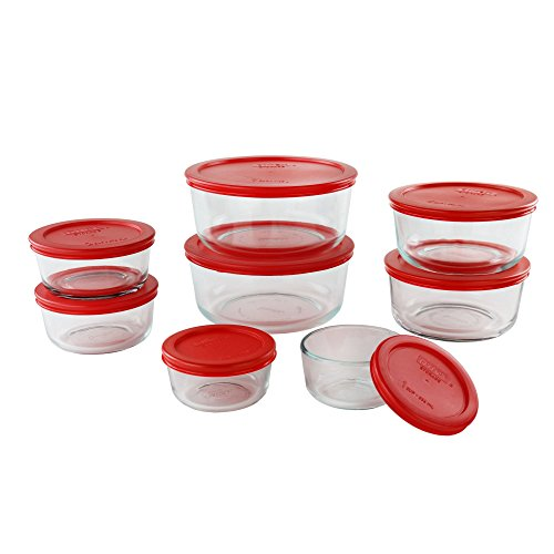 Pyrex Simply Store Glass Round Food Container Set (16-Piece) (Pyrex 10 Piece Storage Set With Lid)