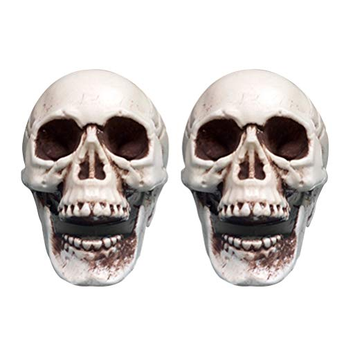 BESTOYARD 2pcs Halloween Scary Simulation Skull Decor Mini Plastic Skull Skeleton Props for Bar Haunted House Roombreak - House Haunted Mini