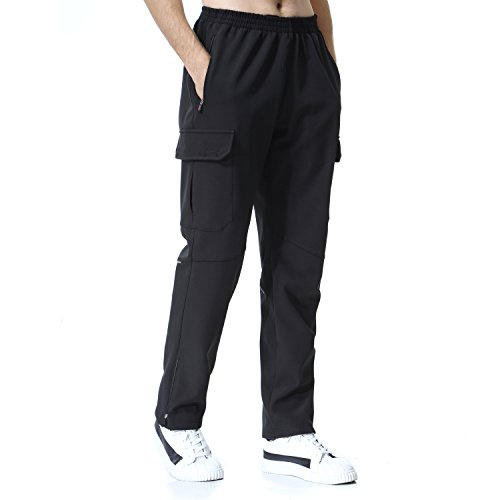 beroy Men's Lightweight Thick Fleece Thermal Pants With Four Pockets That Is Great For Outdoor Workouts In Cool Weather(L Black)