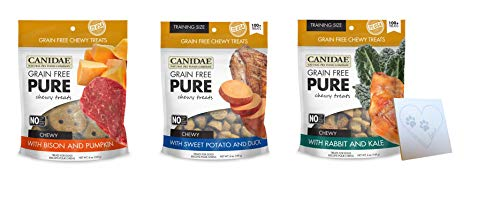 CANIDAE Pure Chewy Treats Variety Pack - 3 Total Flavors: Bison, Duck, and Rabbit Plus Pet Paws Notepad (6oz Each, 18oz Total)