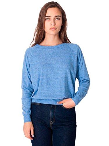 American Apparel Women's Lightweight Tri-Blend Raglan Pullover Sweatshirt Size M
