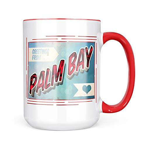 Neonblond Custom Coffee Mug Greetings from Palm Bay, Vintage Postcard 15oz Personalized Name