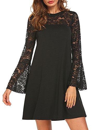 Pasttry Women's Lace Patchwork Casual Mini Chiffon Dress Black - Dress Jacket Elegant