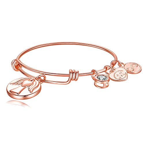 Angel Expandable Wire Charm Bangle Bracelet for Sister Friend Mother Birthday Christams (Rose Gold - Angel)
