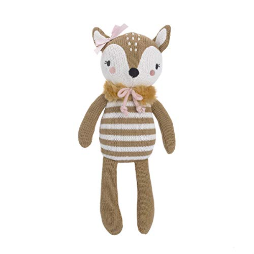 Cuddle Me Deer 100% Cotton Knitted Plush Toy, Penelope, Brown/Pink