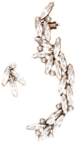 Asymmetrical Ear Cuff Earrings In Vintage Gold Ear Crawlers Crystal Stud Earrings Nickel