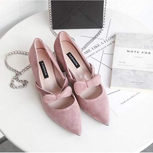 QOIQNLSN Zapatos De Mujer Suede Primavera/Verano Bomba Básica Tacones Chunky Talón Cerrado Toe Negro/Gris / Almendra Almond