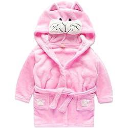 Toddler Kids Cartoon Hooded Plush Robe Animal Pajamas Fleece Bathrobe Children Sleepwear (3T, Cat)