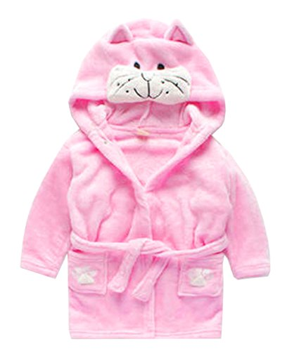 Toddler Kids Cartoon Hooded Plush Robe Animal Pajamas Fleece Bathrobe Children Sleepwear (5T, Cat) Cat Robe