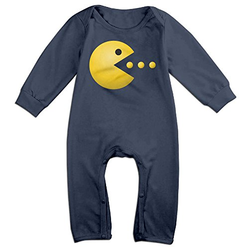 [KIDDOS Baby Infant Romper Pacman Logo Long Sleeve Jumpsuit Costume,Navy 6 M] (Pac Man Baby Costume)