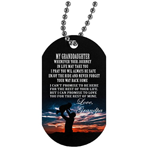 To My Granddaughter Dog Tag With chain - Granddaughter and Grandpa Necklace personalised - Cute Gift for teen Girls, Military inspired aluminum dog tag by iGifts