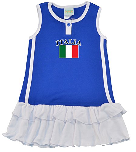 [PAM Little Girls italy soccer cotton Dress,Royal Blue, size 3 years] (Italy Cotton Dress)