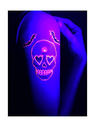 UV Blacklight Luminous Temporary Tattoo-Neon Fluorescent Toy Game fake Tattoos Stickers Makeup Glow in the Dark Rave Day of the Dead Skull Party Nightclub Electric Dance Music Festival EDM Underground -