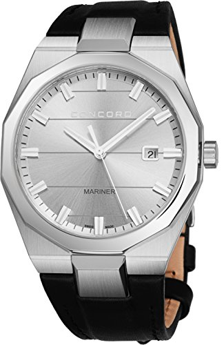 - Concord Mariner Mens Casual Stainless Steel Quartz Watch - 41mm Analog Silver Face with Luminous Markers, Second Hand, Date and Sapphire Crystal - Leather Band Swiss Made Luxury Watch for Men 0320261