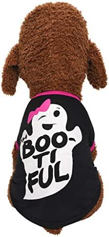 Pet Shirt,cute Funny ghost dog cat vest,Fashion Print Puppy Spring Summer Shirt,Halloween T Shirt for Small/Medium Dog & Cat (L, Black)