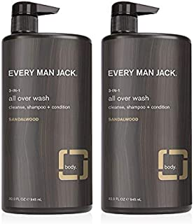 product image for Every Man Jack 3-in-1 All Over Wash - Sandalwood | 32.0-ounce Twin Pack - 2 Bottles Included | Naturally Derived, Parabens-free, Pthalate-free, Dye-free, and Certified Cruelty Free
