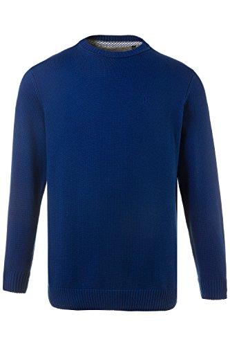 JP 1880 Herren große Größen bis 7XL | Pullover aus 100 % Baumwolle | Sweatshirt aus Strick | Rundhalsausschnitt, Langarm & Logo | Rippbündchen | Elastischer Bund | kobalt 5XL 708261 73-5XL