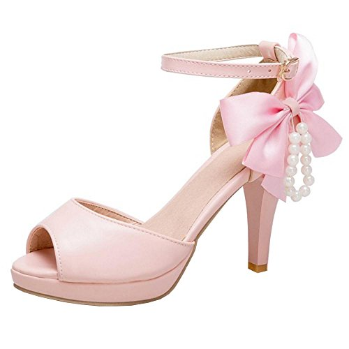 Taoffen Bow Donna Sandali Big Pink Toe Peep rnprXqBZxw