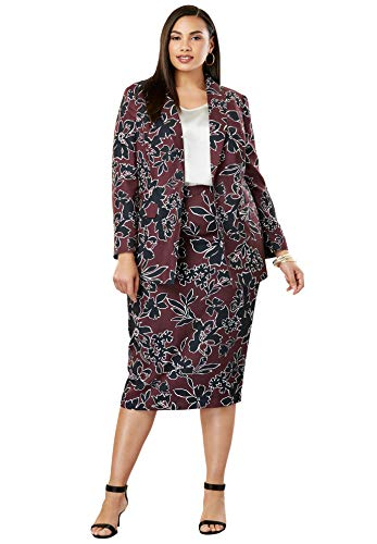 's Plus Size Single-Breasted Skirt Suit - Deep Merlot Outlined Floral, 14 ()
