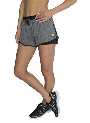 RBX Active Womens Jacquard Elastic Flutter Jersey Short w/ Inner Bike Short, Charcoal / Black Combo, Large