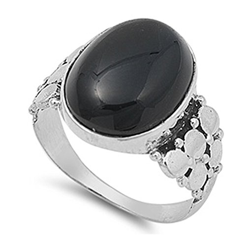 Polished Circle Elegant Ring New .925 Sterling Silver Band Size 9 (Black Onyx Circle Ring)