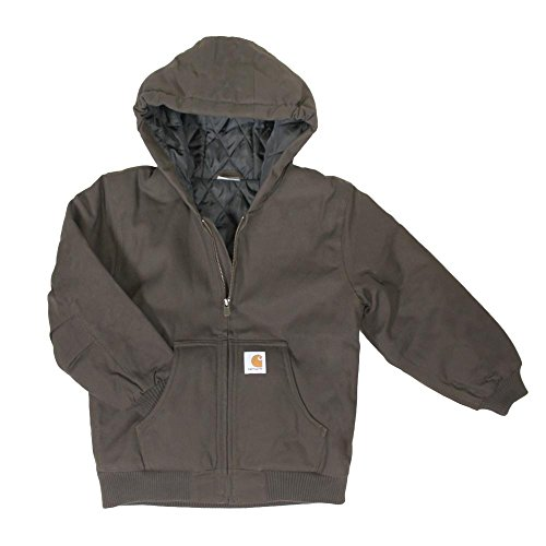 Carhartt Big Boys' Quilt Lined Work Active Jacket, Dark Brown, Medium (10/12)