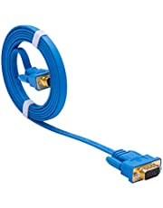 DTECH Ultra Slim Flat Computer Monitor VGA Cable 6 Feet in Blue 1.8m