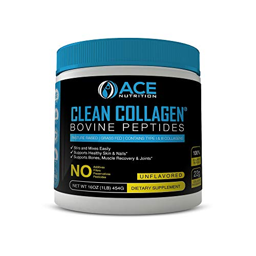 Collagen Peptides By ACE Nutrition  Clean Collagen Bovine Peptides Powder (16oz)  Pasture Raised, Grass Fed, NON-GMO, Gluten Free, Natural Collagen Powder  Unflavored & Easy To Mix, Made In The USA
