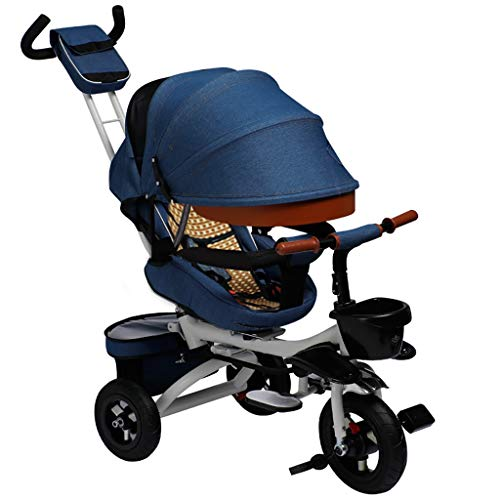 NBgy Child Outdoor Blue Trike,Kid Sun Shade 4 in 1 Tricycles, 1-6 Years Old Baby Tricycles Khaki, Double Push Rod Design, Mit Drehsitz (Color : Blue)