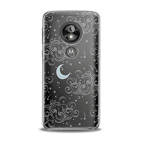 Lex Altern TPU Case for Motorola Moto G7 Power One P30 P40 Note G6 Z4 Clear Silicone Cover Drawing Clouds Print Protective Moon Lightweight Stars Flexible Women Unique Heaven Soft Smooth Simple Cool -