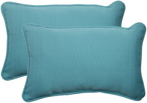 Pillow Perfect Outdoor Indoor Forsyth Pool Lumbar Pillows, 11.5 x 18.5 , Turquoise, 2 Pack