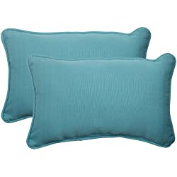 Pillow Perfect Indoor/Outdoor Forsyth Corded Rectangular Throw Pillow, Turquoise, Set of 2