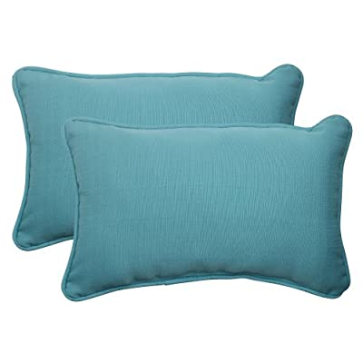 "Pillow Perfect Outdoor/Indoor Forsyth Pool Lumbar Pillows, 11.5"" x 18.5"", Turquoise, 2 Pack - Includes two (2) outdoor pillows, resists weather and fading in sunlight; Suitable for indoor and outdoor use Plush Fill - 100-percent polyester fiber filling Edges of outdoor pillows are trimmed with matching fabric and cord to sit perfectly on your outdoor patio furniture - patio, outdoor-throw-pillows, outdoor-decor - 41r1y41aBYL. SS400  -"