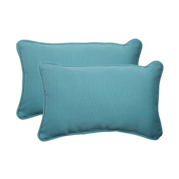 Pillow Perfect Indoor/Outdoor Forsyth Corded Rectangular Throw Pillow, Turquoise, Set of 2 - Includes two (2) outdoor pillows, resists weather and fading in sunlight; Suitable for indoor and outdoor use Plush Fill - 100-percent polyester fiber filling Edges of outdoor pillows are trimmed with matching fabric and cord to sit perfectly on your outdoor patio furniture - patio, outdoor-throw-pillows, outdoor-decor - 41r1y41aBYL. SS570  -