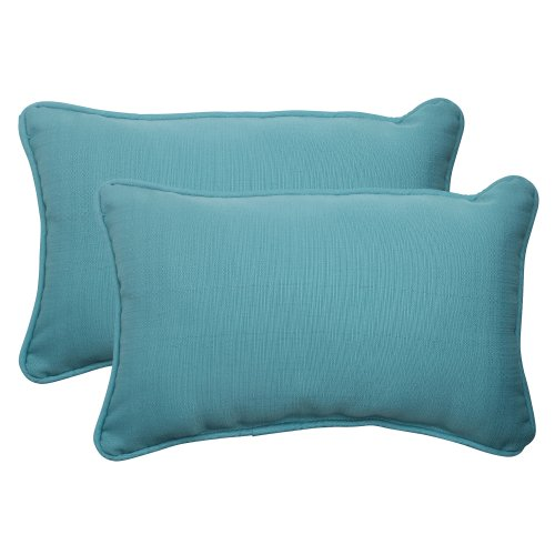 Pillow Perfect Indoor/Outdoor Forsyth Corded Rectangular Throw Pillow, Turquoise, Set of 2 (Pillows Outdoor Rectangular)