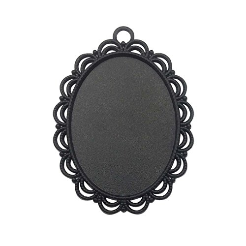 (10 PCS 30x40mm Black Blank Pendant Trays, Glass Cabochons Dome Base Setting Bezel Frame Cameo Metal Alloy Charms for Jewelry Making DIY Findings (7799))