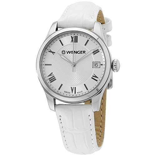 Wenger Silver Dial Leather Strap Ladies Watch 600521108