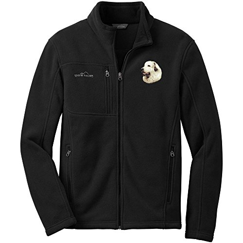 Cherrybrook Dog Breed Embroidered Mens Eddie Bauer Fleece Jacket - X-Large - Black - Great Pyrenees