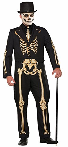 Skeleton Halloween Costume Man (Forum Men's Skeleton Suit Formal Attire with Jacket and Pants, Black/White, L)