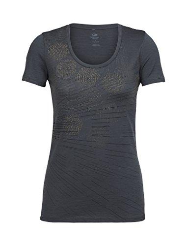 New Zealand Merino Wool - Icebreaker Merino Women's Tech Lite Scoop Neck T-Shirt w/Graphic, New Zealand Merino Wool, Refraction/Monsoon, Small