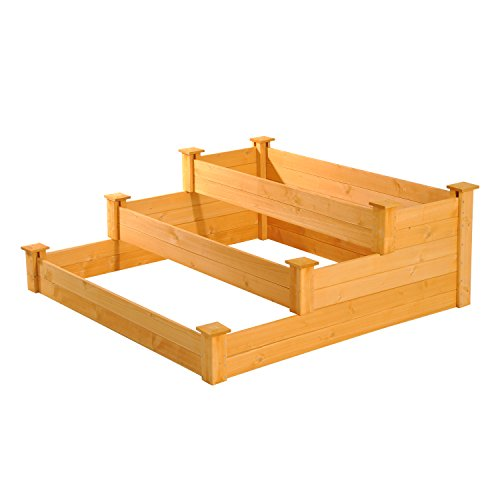 Outsunny 47'' x 47'' x 18'' 3-Tiered Wooden Raised Garden Bed Planter Box by Outsunny